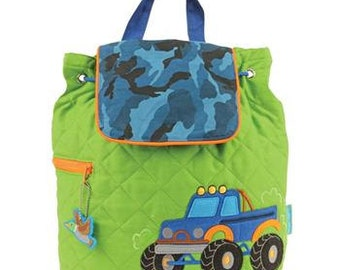 SHIPS NEXT DAY--Personalized Monogrammed --New Pattern-- Stephen Joseph Kid Quilted Monster Truck  Backpack--Free Monogramming--
