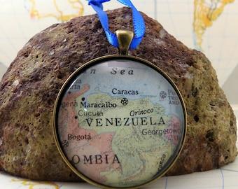 Venezuela Map Christmas Ornament,  Keep a memory Alive / HONEYMOON Gift / Wedding Map Gift / Travel Tree Ornament / Corporate gift