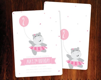 Ballerina Hippo Birthday invitations, double sided - set of 15