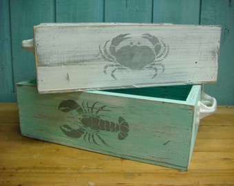 Crate Tray Tote Lobster or Crab Beach House Storage Decor by CastawaysHall