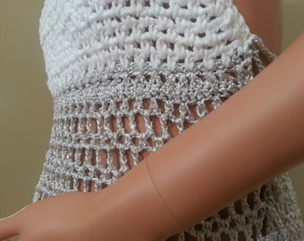 Summer crochet dress, withe silver colors