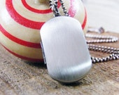 men's locket / men's photo locket / men's dog tag locket brushed sterling silver double photo locket