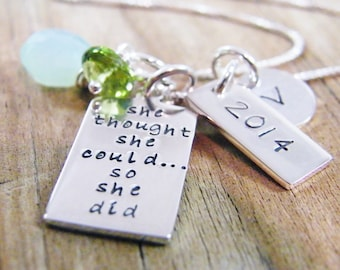 graduation necklace 2015 hand stamped sterling silver pendant with green peridot and light blue chalcedony gem stones