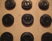 """Antique Sewing Buttons, 1900s Black Celluloid, Round 2 Hole, Eagle Brand, Unused on Original Card, 5/8"""" (app. 16mm), One card w/12 buttoms"""