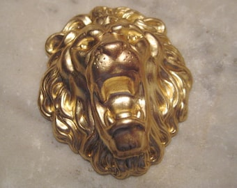 Brass Lion Head, Unplated Deep Struck Stamping, Jewelry Finding or Decorative Trim Embellishment, approx. 54x45mm, 1 pc.