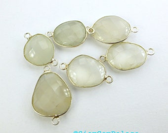 MOONSTONE. White Moonstones. CoNNEcTOR LiNKS. Natural. Flat Rose Cut. Freeform. STERLiNg SiLver. 5 pc. 20.0 cts. 13 to 16 mm (C-Ms5silv)