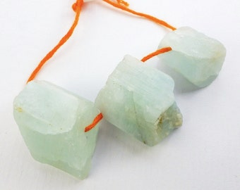 AQUAMARINE BeAdS. Natural. Chunky Nugget Rough Gemstone Beads. 3 pc. 120.0 cts. 16x17 to 19x23 mm (EM935)