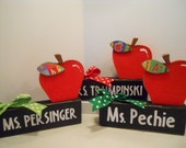 Teacher APPLE Personalized Name Block, Made To Order