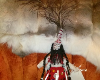 Bermuda Tribal Dance Doll Hand Made with Peacock Feathers