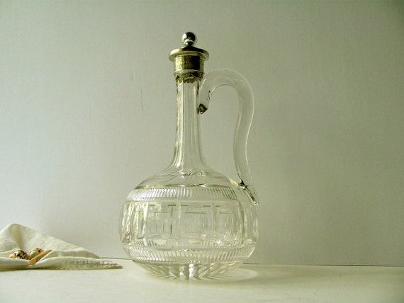 Vintage crystal decanter silver plate stopper neck top cut for How to cut glass bottles lengthwise