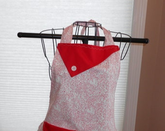 Red Hearts -  Women's Apron - Valentine's Day - Love - Pocket - Ruffle - Squiggly Hearts