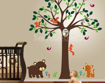 Nursery Wall Decal - Wall Decals Nursery - Tree with Forest Friends Wall Decals. Nursery Room Wall Decal. Tree wall decal. Baby Wall Decal