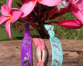 Set of 3 bracelet hairbands hawaii shell mermaid ocean beach