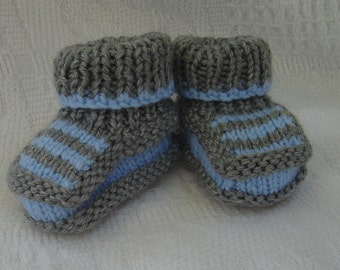 Hand knit baby booties - Striped