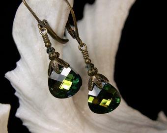 Sahara Green Dangle Victorian Earrings, Blue Green Crystal Briolette Edwardian Bridal Drops, Antiqued Brass, Titanic Temptations Jewelry
