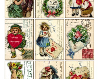 valentine atc aceo Digital Collage Sheet vintage images love tag label postcard background Printable Download