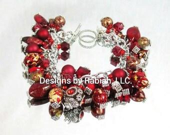 Chunky Charm Bracelet Red Velvet
