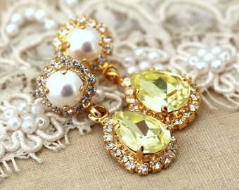 Yellow Chandelier earrings, Yellow white pearl canary, Swarovski Crystal, Bridal jewelry, Statement earrings Gold Drop earrings.