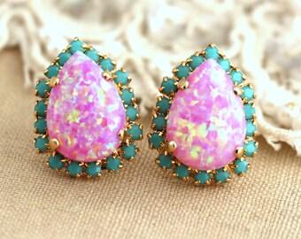 Opal Earrings,Pink Earrings,Swarovski Pink Turquoise Earrings,Teardrop Earrings,Gift for her,Opal Stud Earrings,Opal Jewelry,Pink Studs