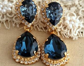 Blue Navy Chandelier earrings, Blue Navy Swarovski earrings, Bridal earrings, Blue statement earrings, Dark Blue chandelier Halo earrings.