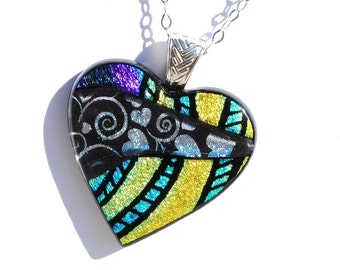 Heart, Dichroic Glass Pendant, Fused Glass Jewelry - Love, Colorful, Bright, Bold - Hand Etching - Gold Green Purple Silver (Item #10655-P)