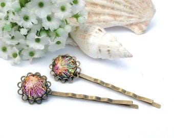 Dichroic Bobby Pins (one pair), Fused Glass Hair Jewelry - Antique Bronze, Victorian Filigree Flower - Shimmering Multicolors (Item 50131-B)