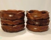 Vintage Wooden Serving Bowls with Flower Detailed Edging