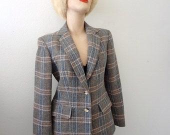 1970s Wool Jacket / preppy blazer / plaid suit coat / vintage fall & winter fashion