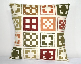 Green and Burnt Orange Geometric 18 inch Pillow Cover Susan Sargent for Robert Allen