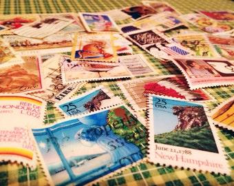100 vintage stamps