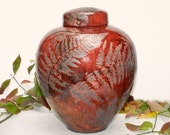 Cranberry Red Raku Jar,XL 12in. Handmade,USA,Ct. with copper and fern detail, for Decorative and Storage purposes