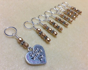50th Wedding Anniversary Gift- Beaded Knitting Stitch Marker Set- Snag Free Tools
