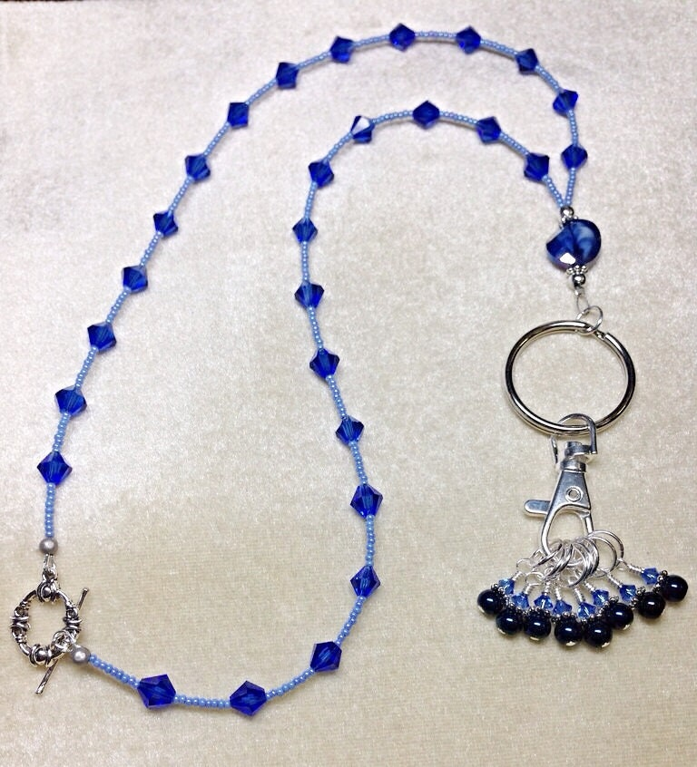 Knitting Markers Beads : Stitch marker necklace lanyard with snag free markers