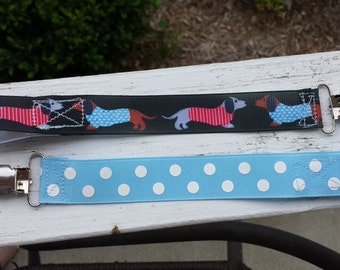 Dachshund dogs duo pacifier clip set