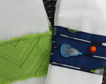 Lacrosse burp cloth set-blue and green