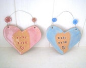 Babi Bach (Little Baby in Welsh) New Baby arrival gift. Ceramic. Blue /pink. Made in Wales, UK