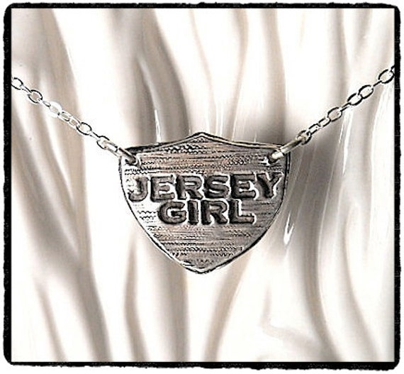 Handmade JERSEY GIRL Sterling Shield Necklace ~ New Jersey - Jewellery - Your Daily jewels
