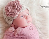Girls Crochet Hat, Newborn Girl Hat, Baby Girl Crochet Hat, Tan and Rose Girl Hat, Newborn Photography Prop, Girl Crochet Beanie