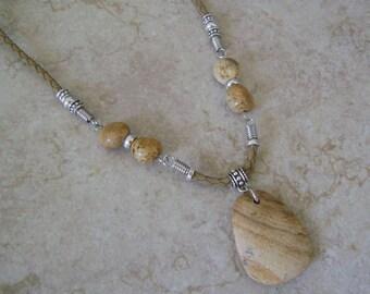 Men's Jasper Stone Beaded Pendant Necklace