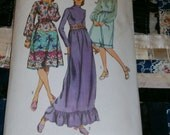 1971 Vintage Simplicity Pattern 9447 Misses Dress in Two Lengths, Size 12, Bust 34""