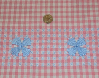 """Pretty Antique Pink and White Gingham Check with Blue Embroidery for Aprons 35 1/2"""" Wide x 43 1/2"""" Cotton Yardage"""