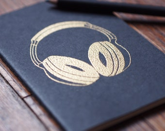 Gold Headphones journal DJ music pocket moleskine, graph or sketchbook