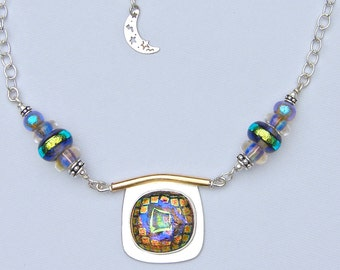 "Dichroic Lamp Glass Sterling Necklace 14k Pendant ""Into the Looking Glass"""