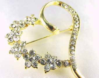 Gold Heart Brooch - Shiny Gold and Clear Crystals Vintage Style  Brooch for bridal bouquet or jewelry decoration