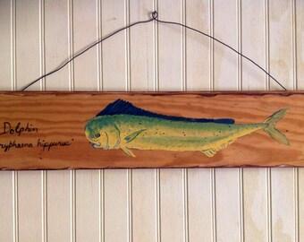 "Dolphinfish painting on reclaimed pine wood flooring. 24"" rustic Mahi Mahi retro art vintage beach home decor with stainless steel hanger"