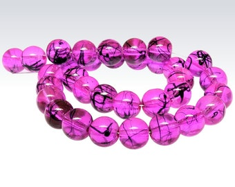 20 Pink Glass Beads Drawbench Glass Orchid and Midnight Black 8mm - BD145