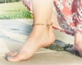 Tribal Ankle bracelet. Oriental chic beaded  topaz silver anklet. Seed bead belly dance jewelry