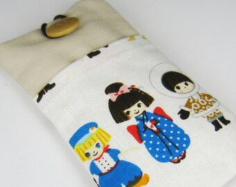 R5 iPhone 6 plus sleeve, iPhone pouch, Samsung Galaxy S3, S4, Galaxy note, cell phone, ipod classic touch sleeve - cute dolls