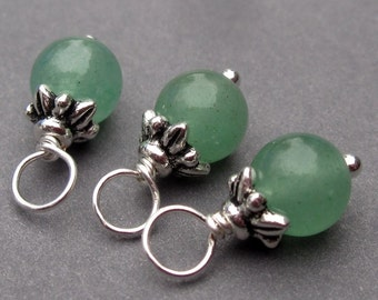 Aventurine Charms, Wire Wrapped Bead Dangles, Interchangeable Charms, Interchangeable Pendants, Stitch Markers with Flower Bead Caps 6mm