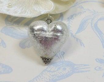 Venetian Heart Pendant, Bright Silver Large 30mm Venetian Murano Glass Heart Pendant,Crystal Silver Foil, Sterling Silver & Swarovski